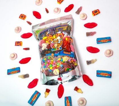 Bag of Pick and mix sweets with arrangement around outside